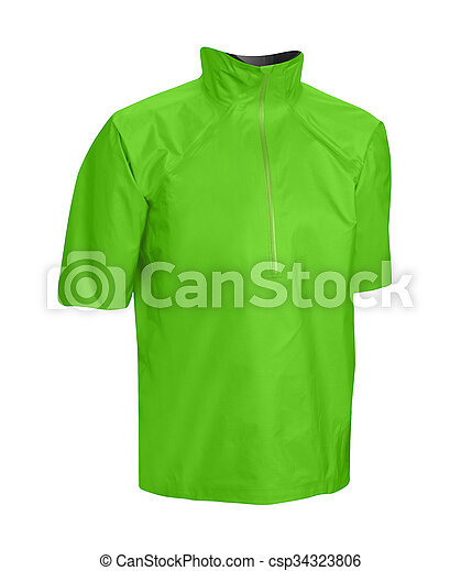 Green jacket isolated on white - csp34323806