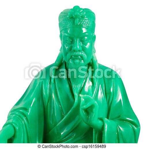 green jade buddha isolated on a white background - csp16159489