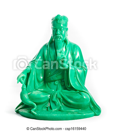 green jade buddha isolated on a white background - csp16159440
