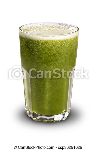 Green juice in a glass with straws isolated on a white background - csp36291629