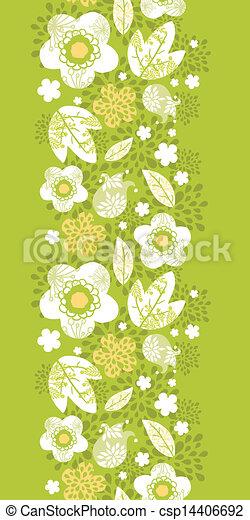Green kimono florals vertical seamless pattern border - csp14406692