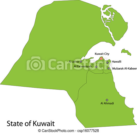 Green kuwait map Map of administrative divisions of kuwait vector