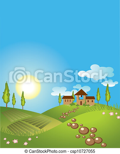 Green landscape background. vector - csp10727055