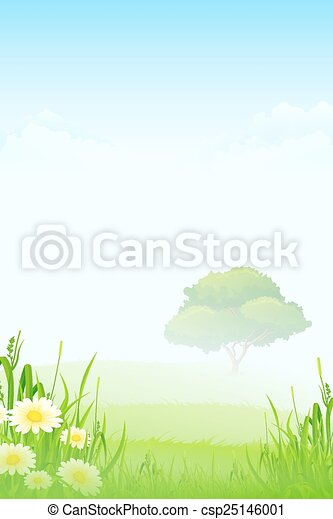 Green Landscape with Tree - csp25146001