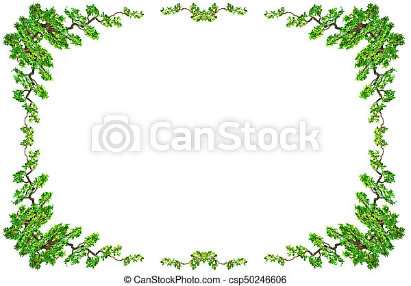 Green leaf border isolated on white background. Clipping paths included. - csp50246606
