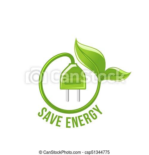 Green Leaf Electric Plug Save Energy Vector Icon Save Energy Symbol