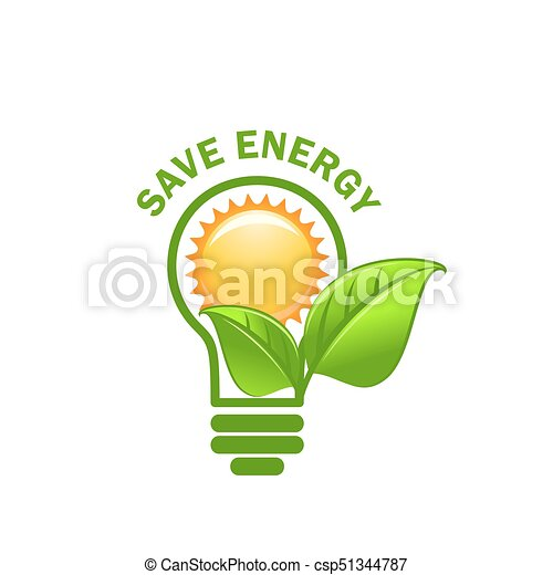 Vector Symbol Of Sun, Green Leaf In Light Lamp Bulb For Ecology Environment  Conservation And Eco Green Energy