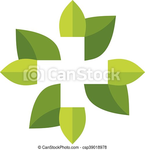 Green Leaf With Cross Symbol