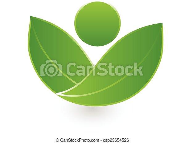 Green leafs health nature logo - csp23654526