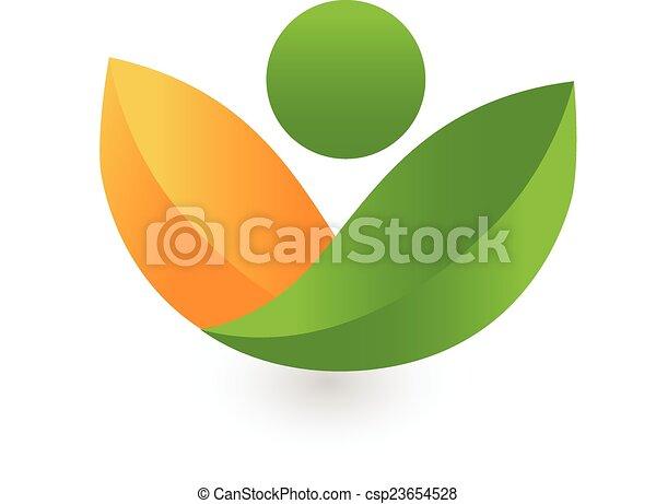 Green leafs health nature logo - csp23654528