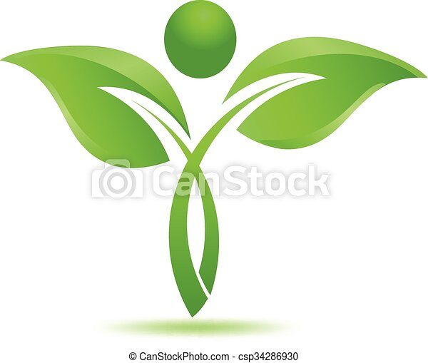 Green leafs natural herbal logo - csp34286930