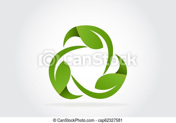 Green leafs recycle symbol logo - csp62327581