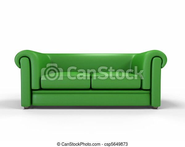 Green leather sofa isolated on white background -digital artwork.
