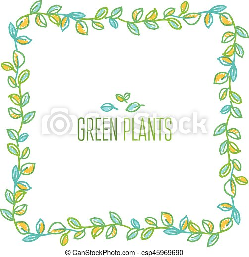 Green leaves frame design element in hand drawn relaxed style for header,  card, title, wedding invitation  Tender delicate foliage vector illustration