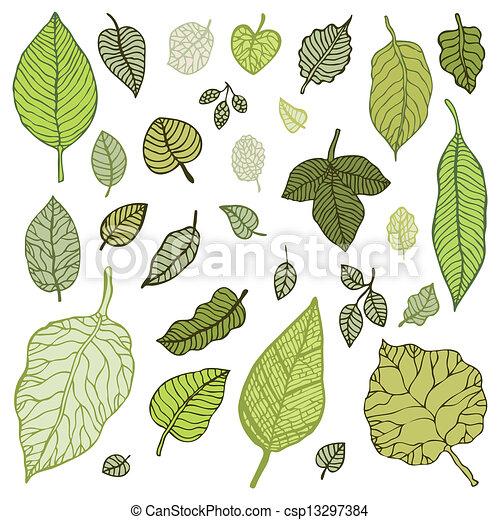 Green leaves set.  Vector Illustration. - csp13297384