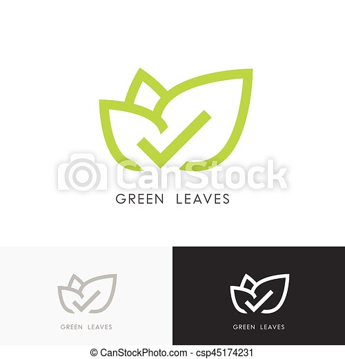Green Leaves With Check Mark Logo Green Leaves Logo Plant With