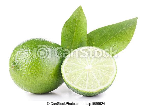 green lemon and leaves - csp1589924