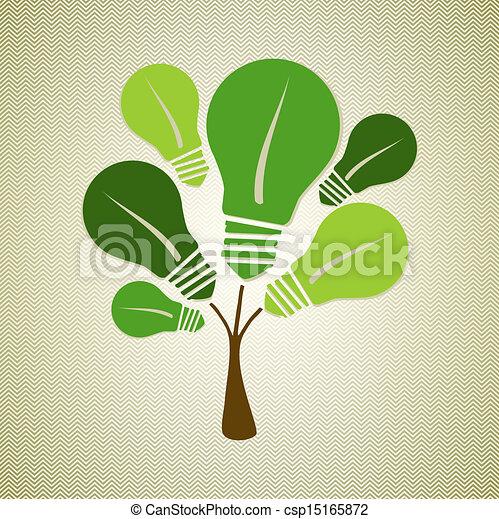 Green Life Tree Illustration Eco Friendly Renewable Energy Light