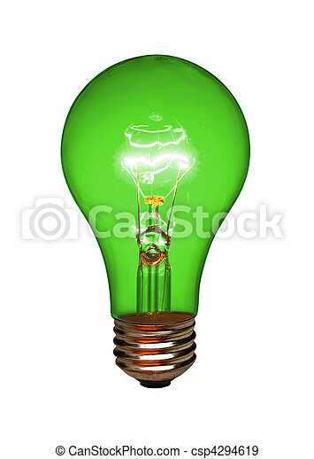 Green light bulb, isolated - csp4294619