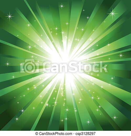 Green light burst with sparkling stars - csp3128297