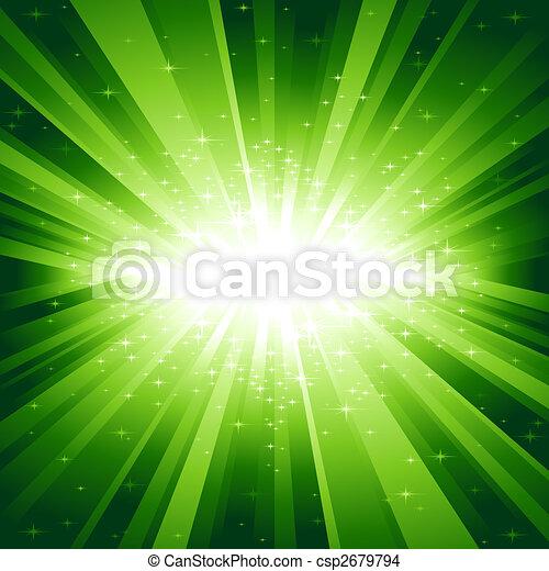 Green light burst with stars - csp2679794