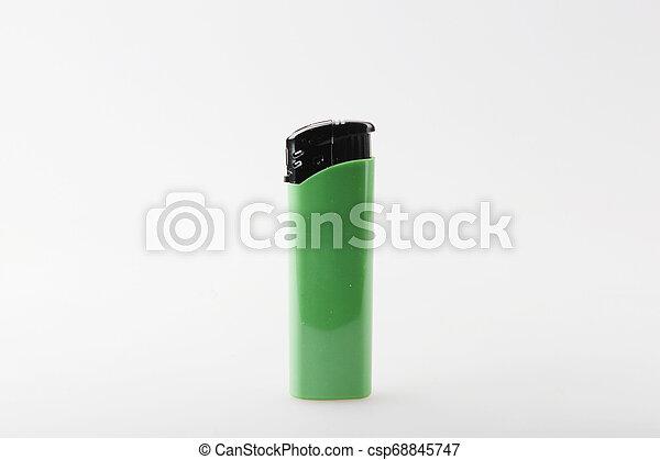 Green Lighter Against White Background - csp68845747