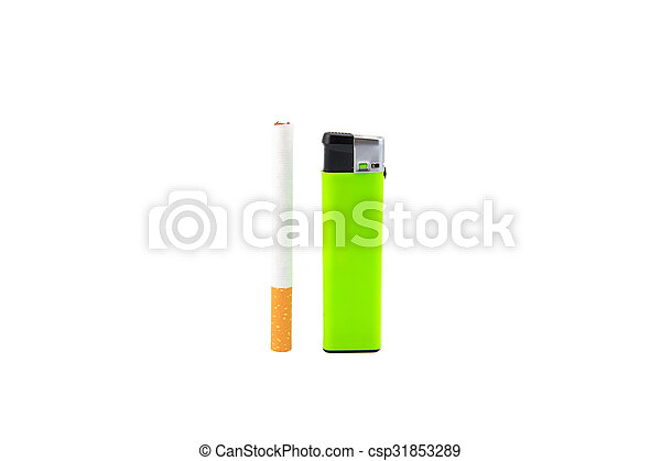 Green lighter and cigarette on white - csp31853289