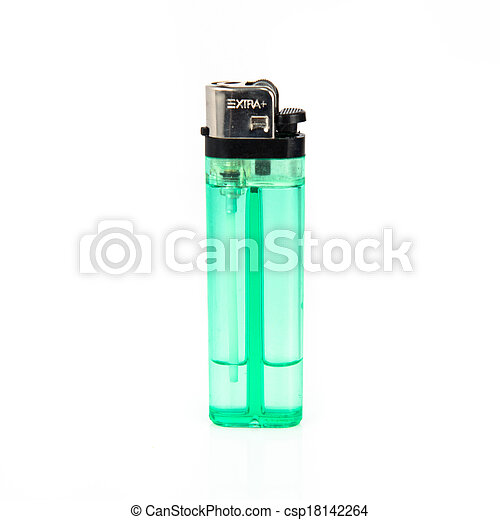 Green lighter isolated over white background - csp18142264