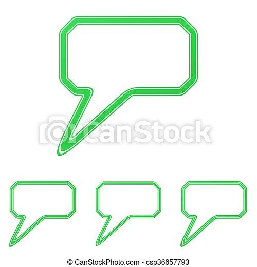 Green line comment logo design set - csp36857793