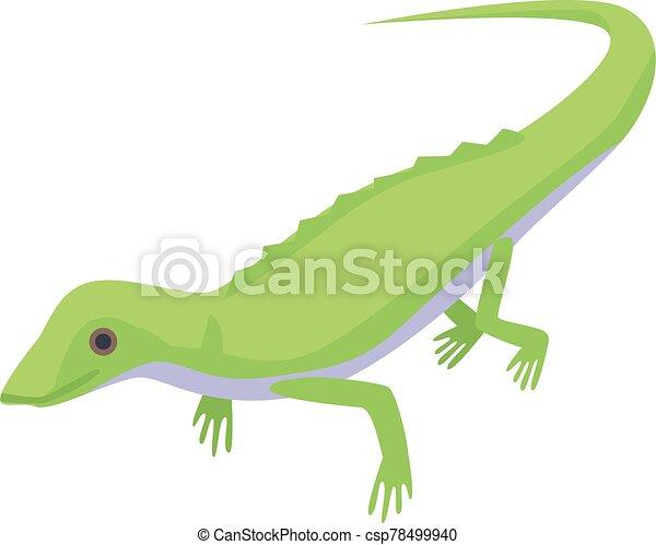 Green lizard icon, isometric style - csp78499940