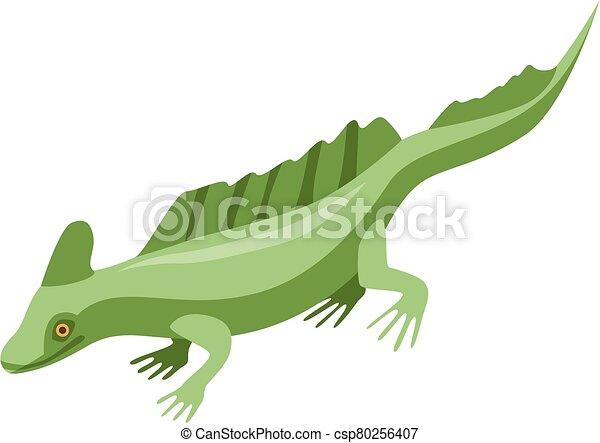 Green lizard icon, isometric style - csp80256407