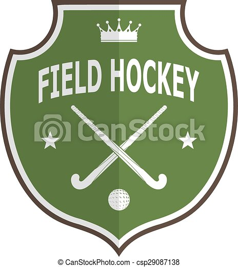 Green logo badge for the team field hockey on a white background . Vector illustration - csp29087138