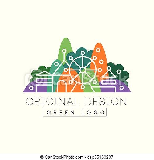Green Logo Original Design Logo Colorful City Landscape Skyline Amusement Park Vector Illustration On A White Background