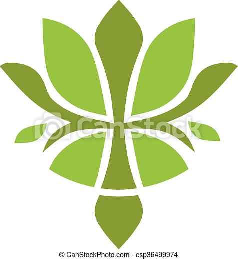 Green Leaf Or Lotus Flower Logo Green Leaf Spa Lotus Flower And