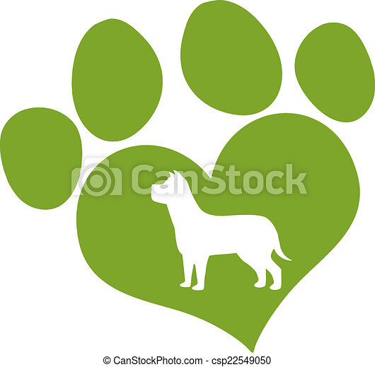 Green Love Paw Print With Dog  - csp22549050