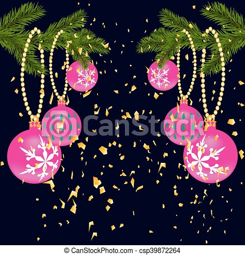 Green lush branch of spruce, with two sides decorated with gold confetti. Spruce branches with red balls. Isolated on a dark blue background. illustration - csp39872264