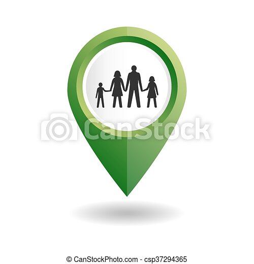 Green map pointer with a people icon. - csp37294365