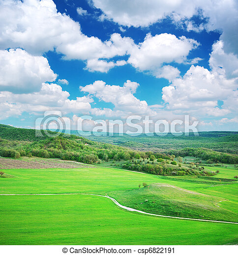 Green meadow in mountain - csp6822191