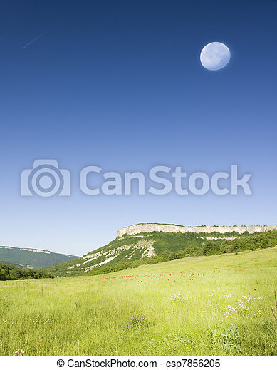 Green meadow in mountain. - csp7856205