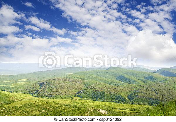 Green meadow in mountain. - csp8124892