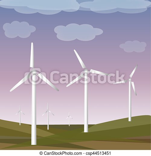 Green meadow with wind turbines generating electricity - csp44513451