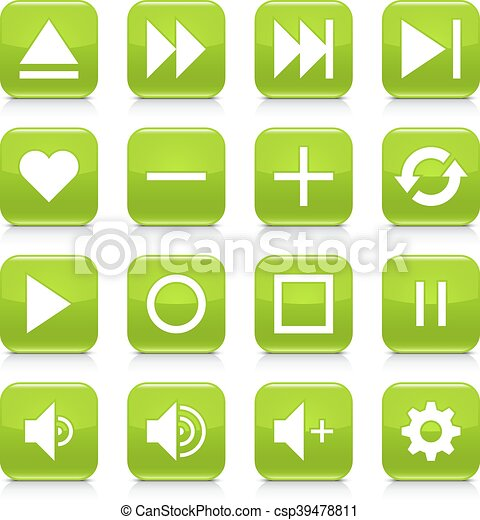 Green media sign rounded square icon web button - csp39478811