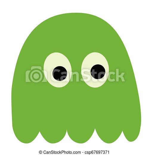 green monster flat illustration on white - csp67697371