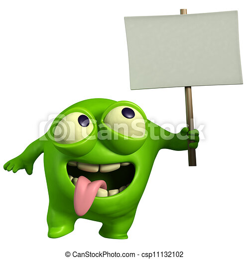 green monster holding placard - csp11132102