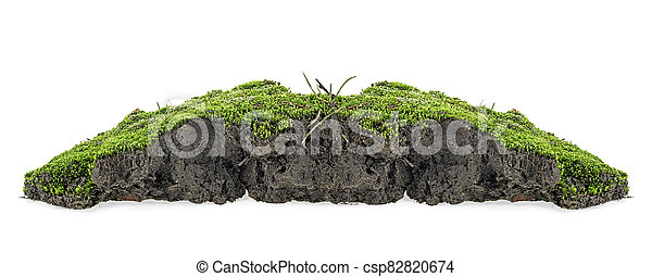 Green moss with grass on pile of soil isolated on a white background - csp82820674