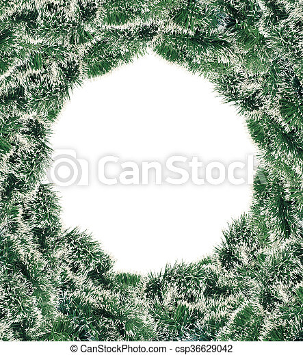 green new year tree decoration over white background - csp36629042