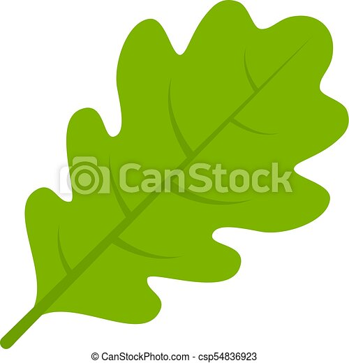 Green oak leaf vector icon. Green oak leaf vector ...