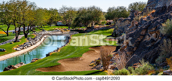 green on golf course, - csp84912093