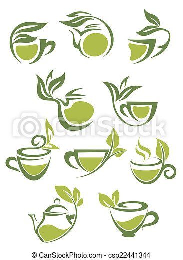 Green or herbal tea icons - csp22441344