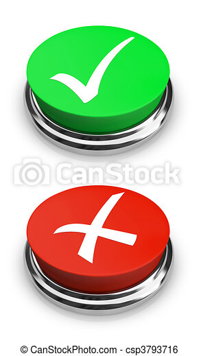 Green or Red - Yes or No - Buttons - csp3793716